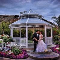 Married couple by gazebo