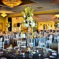 Wedding reception area decorated